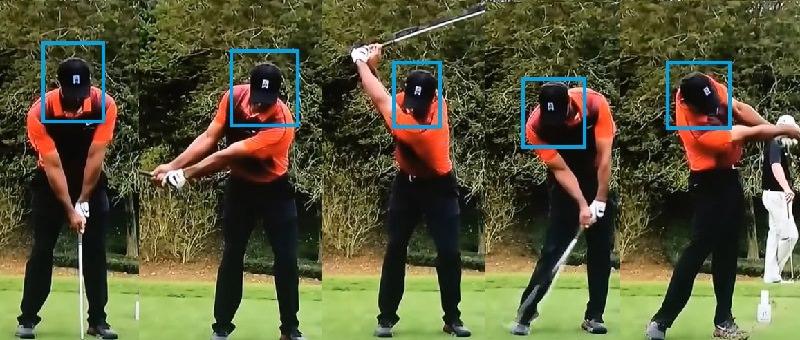 Le fait que Tiger Woods arrive à une stabilité quasiment maximale avec un mouvement limité à moins de 2,5 centimètres entre sa tête et la position de la balle au sol à l'adresse est sans doute un cas extrême