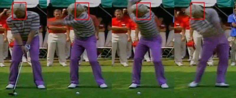 A l'inverse de Nicklaus, il déplace énormément la tête pendant le swing ! Elle sort du périmètre initialement dessiné à l'adresse, et reste même très en arrière.