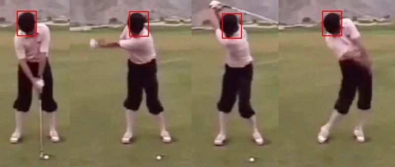 Dans le cas de Payne Stewart, le mouvement est très limité. La tête se déplace très peu sur la droite pendant le backswing, et très peu vers la gauche pendant le mouvement à l'impact.