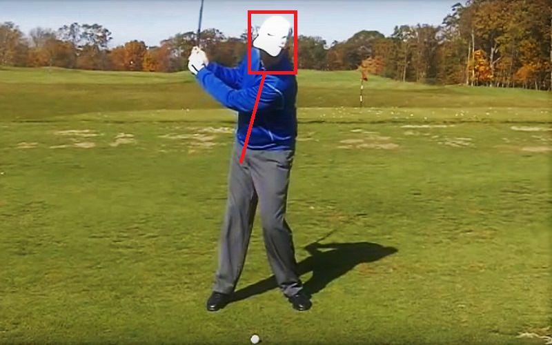 Le pivot inversé est un mouvement où en réalité, la tête se retrouve en avant de la balle au sommet du swing, et donc plus du tout sur un seul plan direct des pieds à la tête.