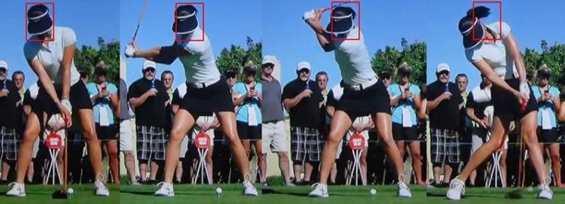 S'agissant de Michelle Wie, sa tête reste très fixe avant peu de rotation de l'adresse jusqu'au sommet du swing, en revanche, à l'impact, au lieu d'envoyer sa tête vers l'avant, cette dernière la maintient très en arrière par rapport à la balle !