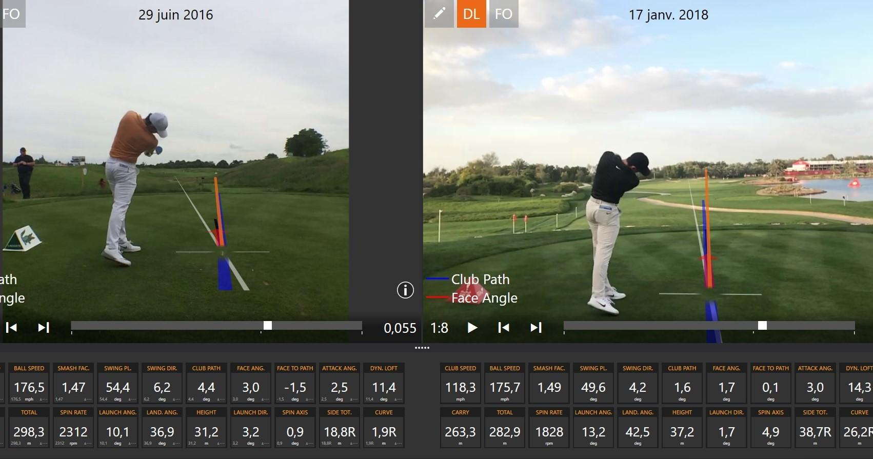 Entre ces deux drives, celui de gauche mesuré en 2016, et celui de droite mesuré en janvier 2018, on sait que Rory s'est fixé comme objectif de travailler sur l'augmentation de son angle de lancement.