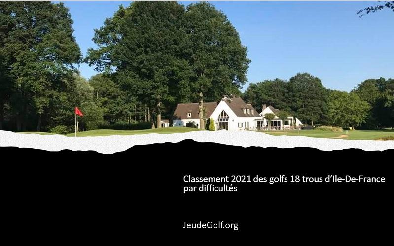 Classement 2021 des golfs 18 trous en Ile-De-France par difficultés