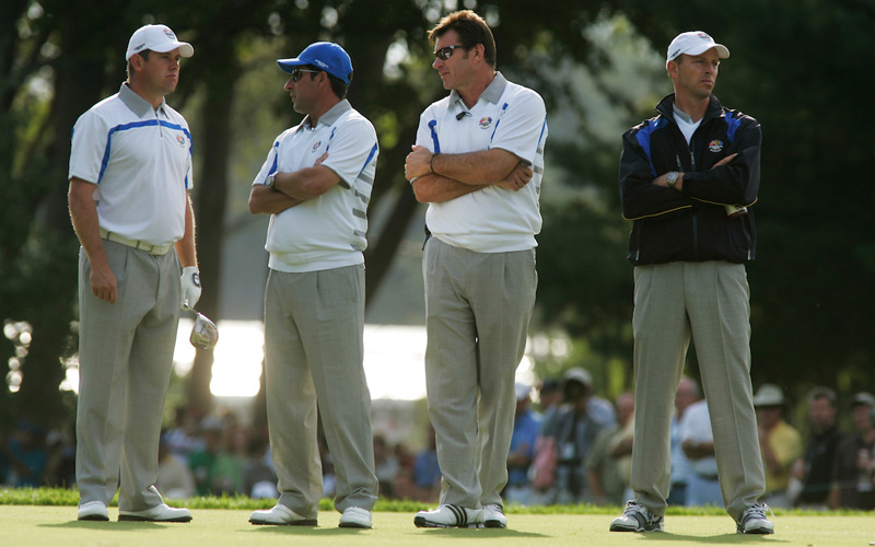 Ryder Cup 2008, Nick Faldo et Jose Maria Olazabal. Photo Mark Newcombe - visionsingolf.com