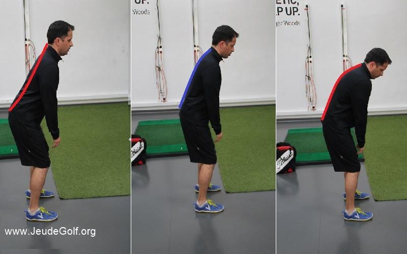 Les différentes postures à l'adresse : posture en S, posture droite, posture en C