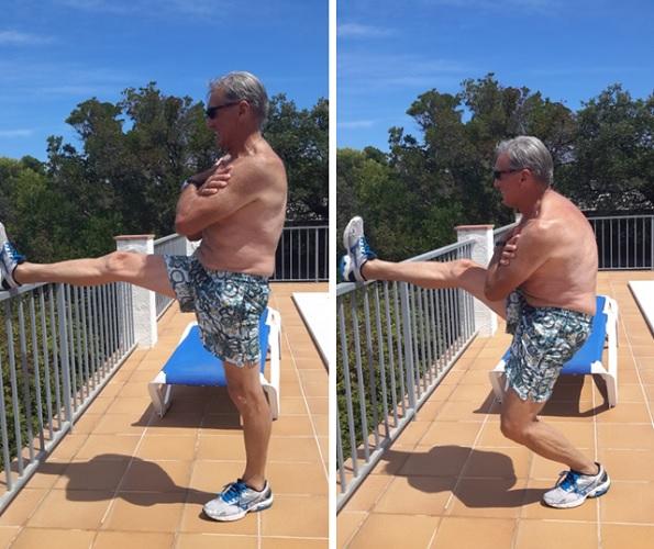 Descendre en 1/2 flexion sur une jambe, l'autre étant à l'horizontale sur un support à hauteur des hanches.