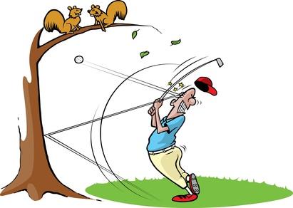 mauvais coups de golf et malheurs sur le parcours
