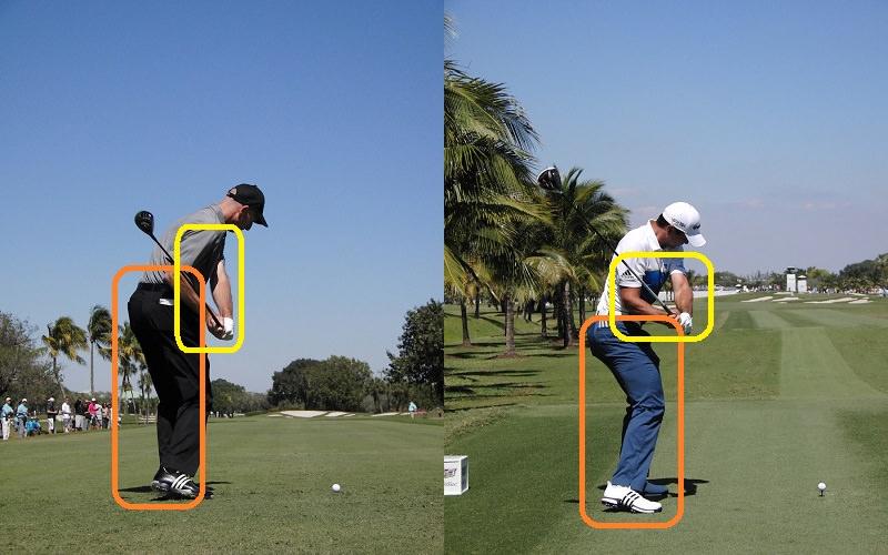 Notez les différences d'espacements au niveau des bras par rapport aux corps des deux athlètes…