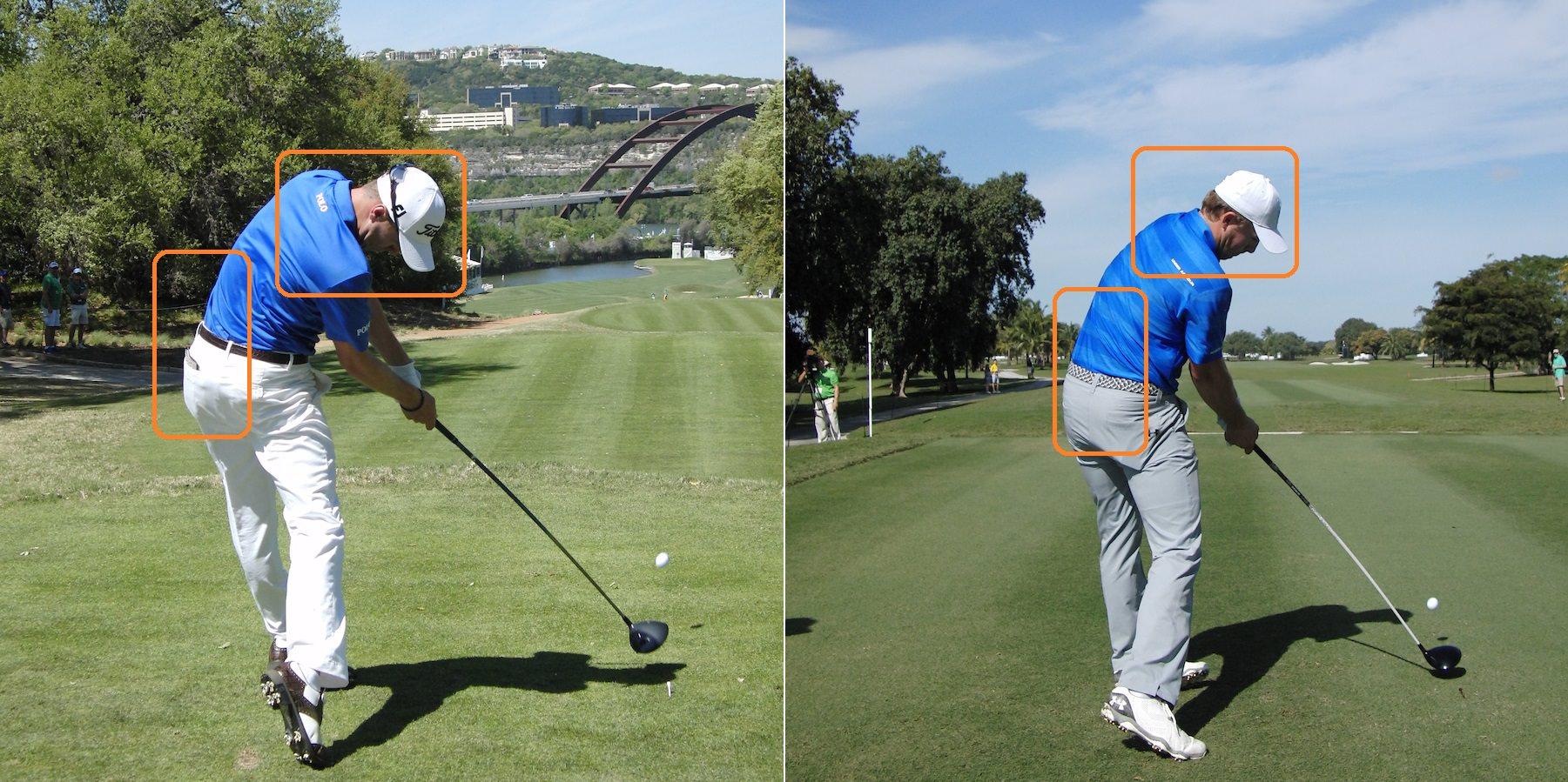 Notez la différence de position après l'impact entre Justin Thomas (à gauche), et son copain Jordan Spieth (à droite).