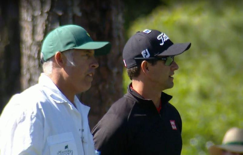 Steve Williams en discussion avec son patron Adam Scott pendant le 3ème tour du Masters
