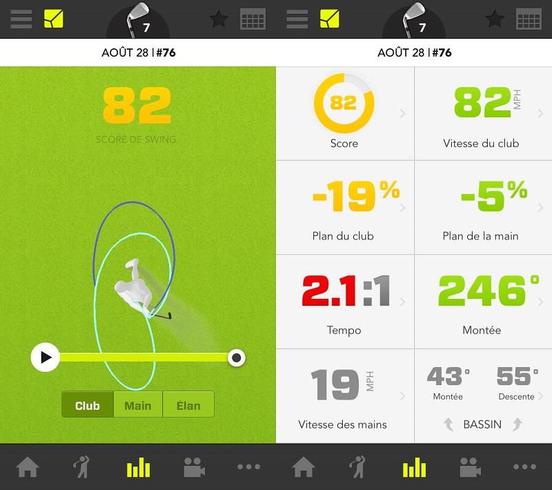 Capture d'écran d'un des swings réalisés pendant le test