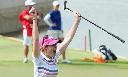 Paula Creamer, heureuse après son putt victorieux