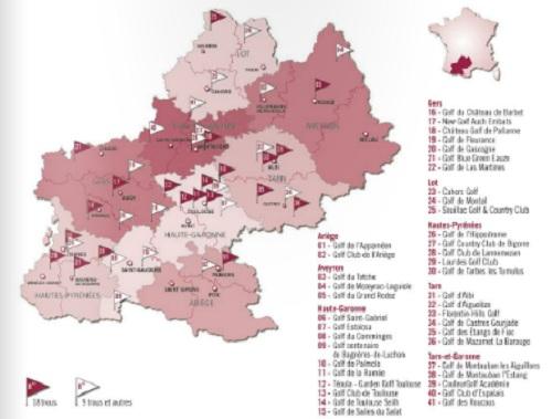 Carte des golfs en Midi-Pyrénées