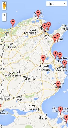 Carte des parcours de golf en Tunisie