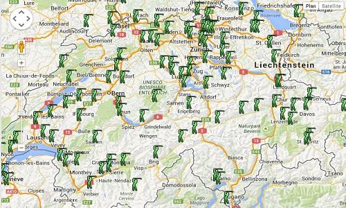 Carte des golfs en Suisse
