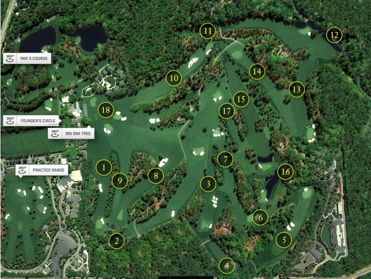 Carte du parcours de l'Augusta National - parcours du Masters 2014