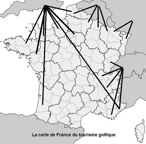 Carte de France théorique des régions touristiques pour le golf