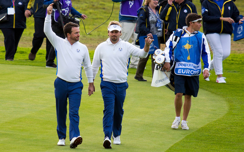 Victor Dubuisson et Graeme McDowell, Ryder Cup 2014. Photo Marck Newcombe