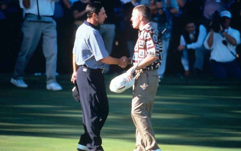 Jose Maria Olazabal and Justin Leonard, Ryder Cup 1999. Photo Marck Newcombe