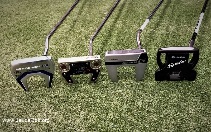 Le match des putters HIGH MOI : Odyssey White Hot RX 7, Scotty Cameron Futura X5, Ping Sigma G, TaylorMade Spider Black