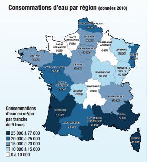 Consommations d'eau par régions
