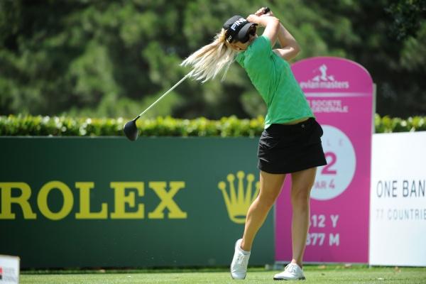 Pernilla Lindberg à l'entrainement sur l'Evian Masters 2012