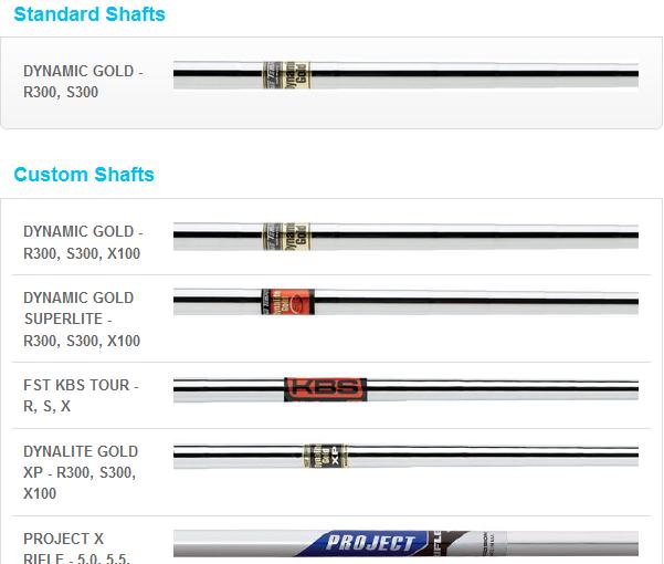 Shafs proposés pour les Mizuno Golf MP-64
