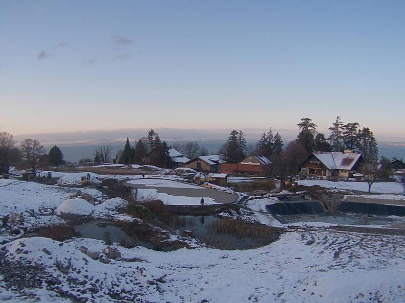 Travaux sous la neige pour le parcours d'Evian